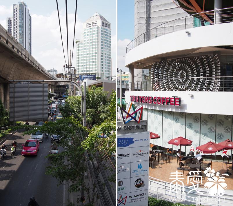 從天橋上看,前面就是BTS PHRA KHONG站
